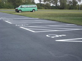 Handicap spaces Restriped